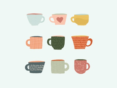 Coffee Cups tea cup tea simple mug texture cups pattern design patterns flat illustration coffee cup coffee drawing illustration design