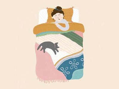 Zzz bedroom quilt cat sleep bed pattern illustration pattern design pattern floral texture flowers hand drawn flat illustration drawing illustration design
