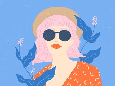 Fashion Girl pink hair fashion illustration woman illustration woman pattern design pattern pattern illustration plant illustration plants flowers texture flat illustration drawing illustration design