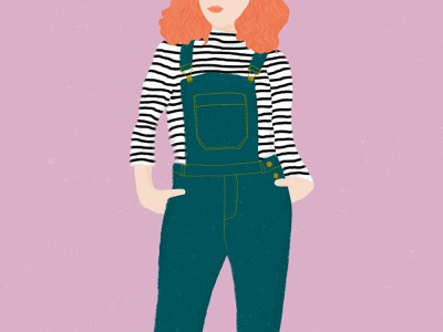 Curls and Overalls curly hair woman illustration woman texture illustration stripes orange hair overalls flat illustration fashion illustration drawing design