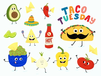 Taco Tuesday characters bright colors type taco tuesday tacos taco lettering hand lettering typography flat illustration drawing illustration design