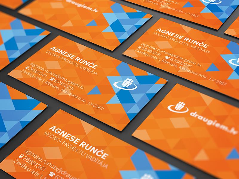 Business card  draugiem.lv orange geometric geometry pattern design blue vector triangle latvia business card