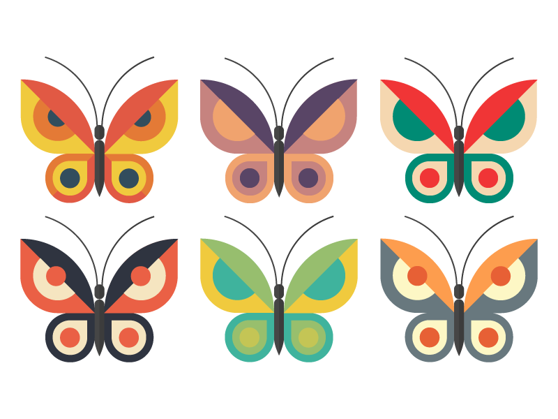 butterflies butterfly flat vector illustrator illustration colorful spring nature free freebie