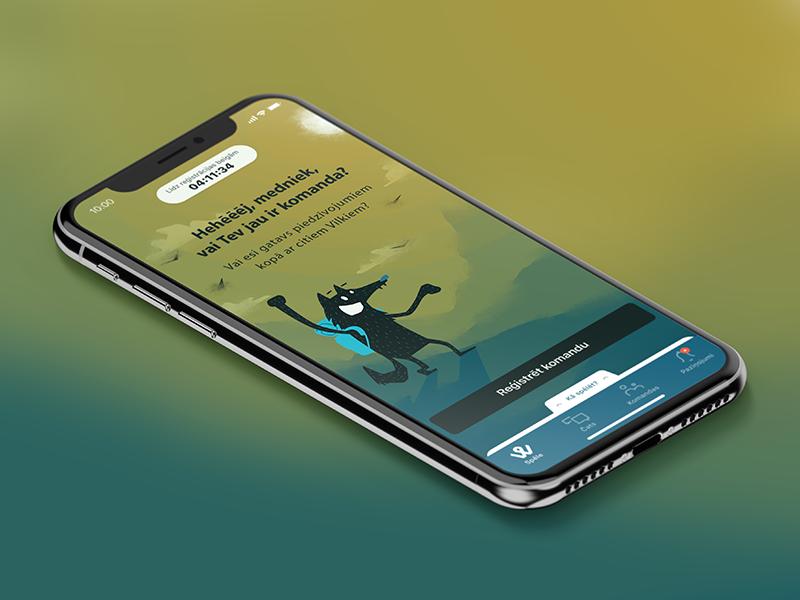 Home screen of a live mobile scavenger game wolf screen illustration design application mockup mobile app ui ux