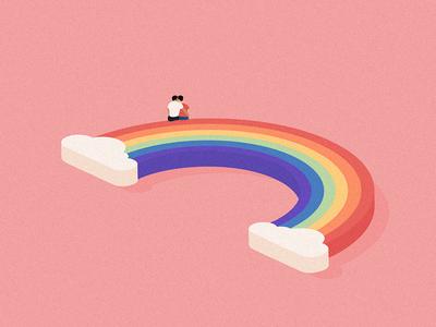 Love is love 🌈 love pastel summer editorial digital design flat pride rainbow illustration vector