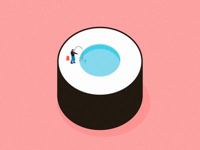 Fishing sushi pastel summer editorial digital design flat food fish illustration vector
