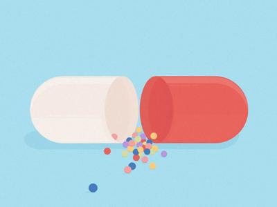 Pill love pastel editorial digital design flat drugs pill illustration vector