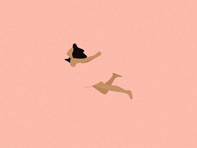 Floating minimal pastel summer editorial digital dream design flat swimmin illustration vector
