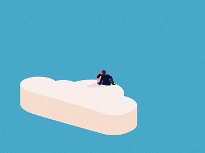 Gazing. cloud pastel minimal editorial digital design flat sky love illustration vector