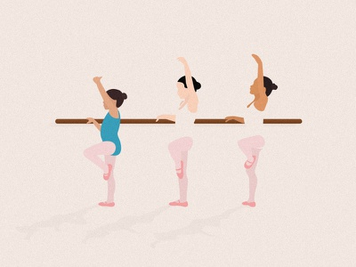 Tiny dancers girls dancers pastel minimal editorial digital design flat ballet illustration vector