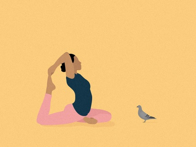King Pigeon Pose girls pigeon pastel minimal editorial digital design flat yoga illustration vector