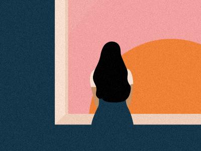 Sunset window home pastel minimal editorial digital design flat sun sunset illustration vector