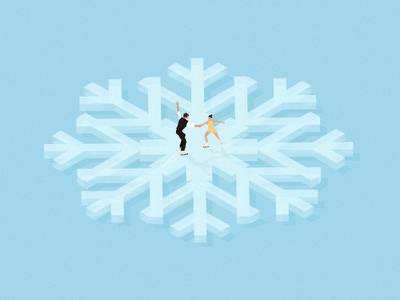 Ice Dancing. dancing ice pastel minimal editorial digital design flat snowflake snow illustration vector