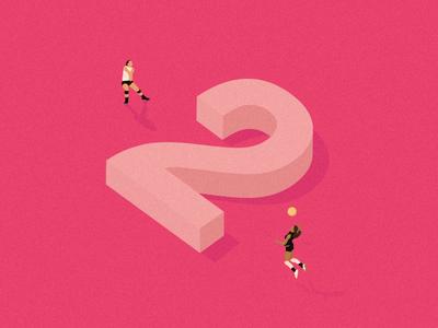 2 Dribbble invites orange volley pastel minimal editorial digital design play game invite illustration vector