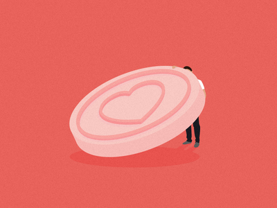 Looking for love minimal sweet heart pastel flat man candy love illustration vector
