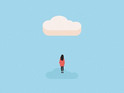 Stress awareness week. cloud stress editorial minimal illustration pastel digital vector illustrator