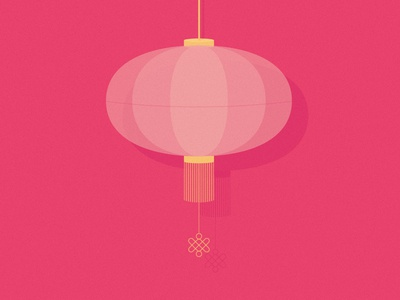 Happy Chinese New Year! editorial digital design object minimal pig pink chinese lantern flat vector illustration
