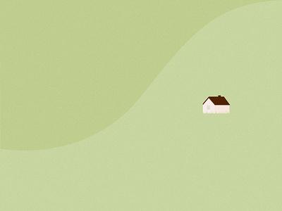Cornwall illustrator seaside cornwall grass house clean vector minimal flat english hills green countryside cottage illustration