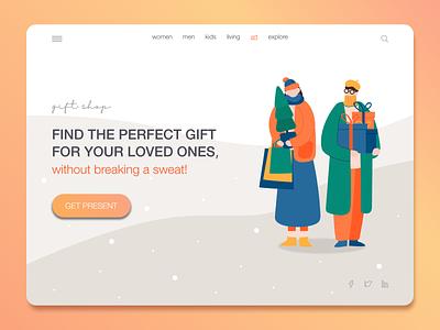 Gift Shop christmas presents gift shop gift gifts web illustration vector ux ui design branding app