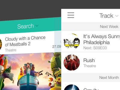 ComingUp 2.1 Redesign ios app ios 7 tableview navigationbar flat tv movie game