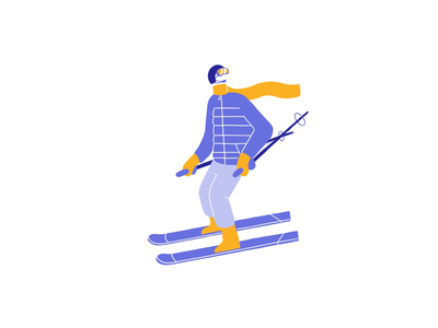 Ski slope lobsterstudio illustration animation winter sports resort mountain riding slope ski sport festive december snow winter