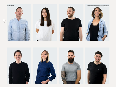 Our team at 14islands studio website bio animation webgl interactive design agency website ui blob agency digital playful hover team reveal people portrait