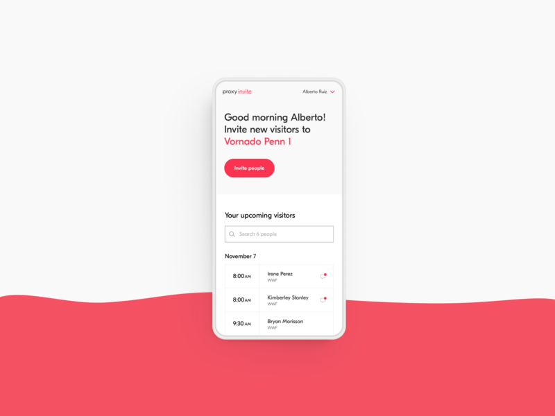 Proxy Invite - Visitor desktop mobile user experience ui access planning timeline uidesign uxui ux platform invite visitor