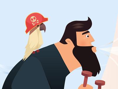 Floripa Game - Exporation game design fun tech hack adventure ocean boat toucan pirate character game illustration design animation