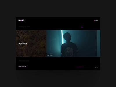 myriad.video website ux interactive animation ui storytelling music videos horizontal black  white black light dark stories social impact