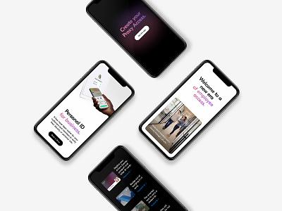 Proxy mobile site responsive design motion application access business black  white darkmode black mobile tech digital identity startup website marketing