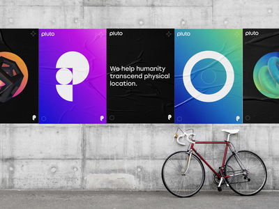 Pluto brand posters gradient geometry flat icon 3d poster brand