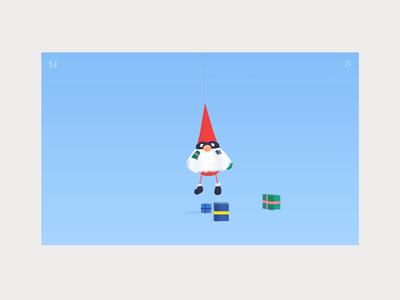 Shake Santa for gifts blue gif flat website animation experience 3d christmas ui three.js web gifts xmas santa pinata game interactive interaction webgl