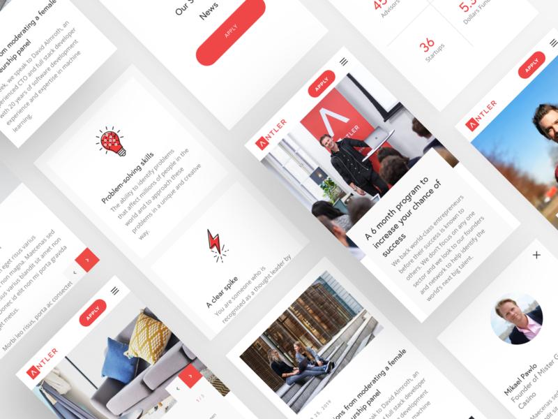 Antler Website mobile incubator startup apply flow ui app designs mobile website design ux