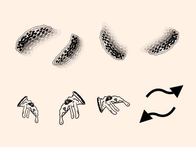 Pizza Stuff slice pizza design doodle lines shapes illustration