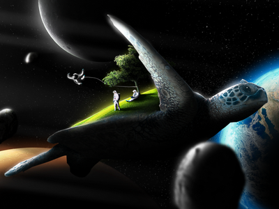 Space Turtle Island imagination playful astronaut planet universe space conceptual photoshop photo manipulation