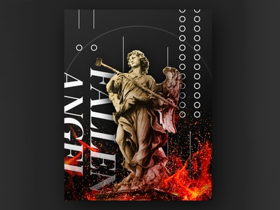 Fallen Angel Poster black red poster circles flames fire photoshop statue angel