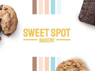 Sweet Spot Bakery snack food cooking baking logotype brown yellow bakery cookie vibrant colorful identity logo