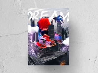 DREAM Poster cloud flying fish city urban surreal dream lightning purple red colorful poster