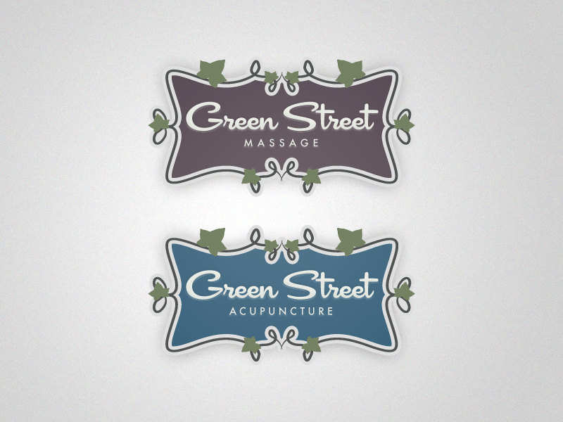 Green street acupuncture logo   blue   presentation   dribbble