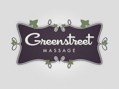 Greenstreet Massage green street massage alex profera logo identity traditional ornate floral script