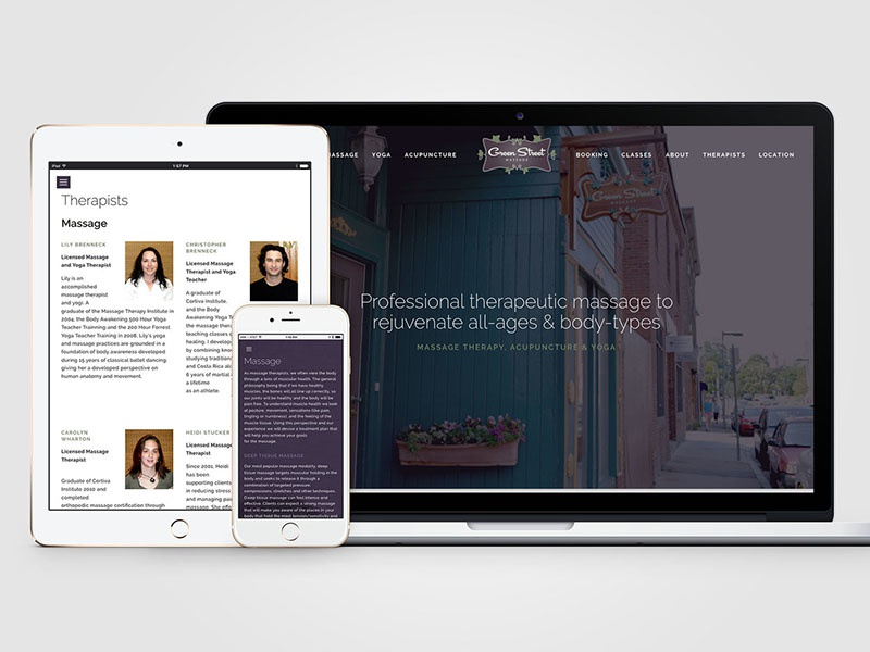 Green Street Massage - Website responsive design website