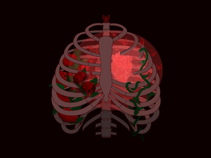 Inspiration emotions feelings inspiration love skeleton ribs butterflies art flowers heart shining vector illustrator illustration