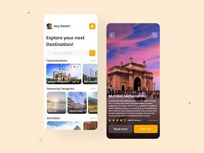 Tourism App UI travel dribble app design web design ux tourism user interface minimal adobe xd ui design