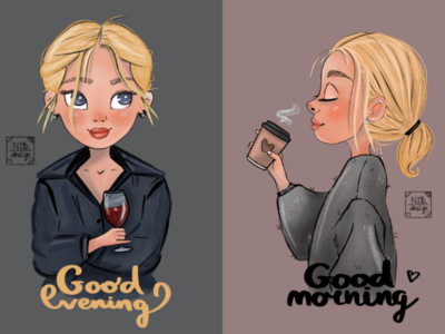 Good good mood illustration character vine coffee girls prints