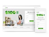 """Landing page for """"$100 on us"""" campaign"""