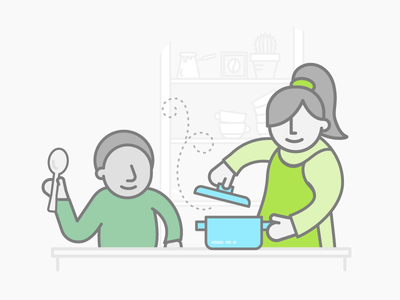 Family Time family time lifestyle illustration family cook freelancing kitchen cooking kid mom