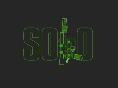 Solo. A Star Wars story. lineart poster illustration pistol gun logo star wars solo