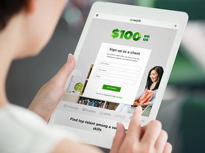 Landing page for '$100 on us' campaign tablet campaign credit design responsive design website landing page $100 ux ui