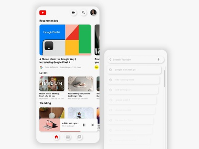 Youtube Redesigned   Neumorphism scroll gradient neumorphism neumorphic shadow ux streaming videoplayer video youtube google app ui simplistic minimalistic ios design clean