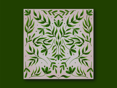 Green Flora green botanical flora motiff pattern leaves illustration